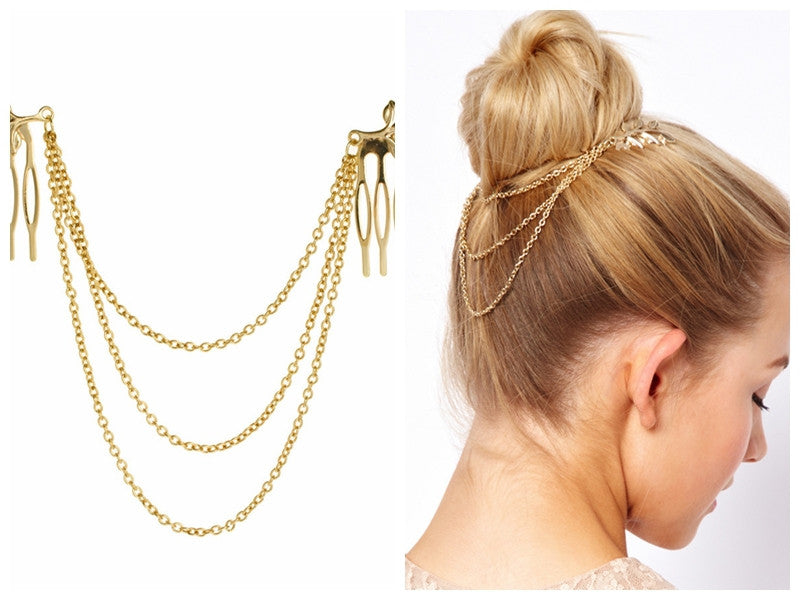 Vintage Hairpiece Double Gold Chain - FabFunBride