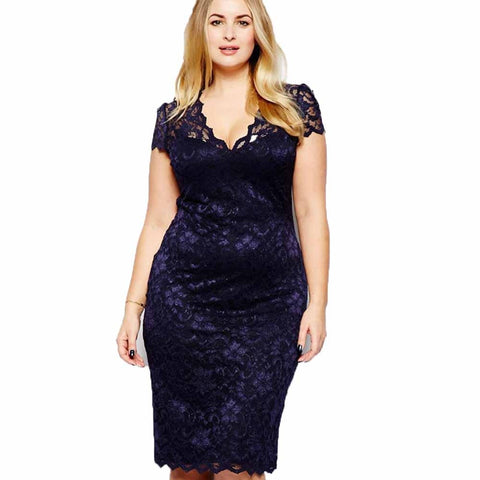 Plus Size Women V Neck Elegant Lace Dress Summer Crochet Hollow Out Evening Sheath Dress 5XL