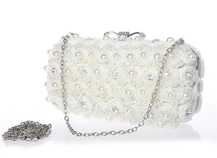 White Flowers Evening Hand Bag Noble Ladies Pearl Wedding Party Dressed  Clutch BagsRhinestone Bow Mini Purse 7151602d299b