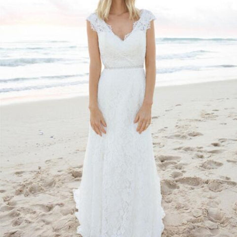2019 Bohemian Lace Wedding Dress Vintage A line V Neck Beach Boho Wedding Dresses Sexy backless Long Bridal Gowns