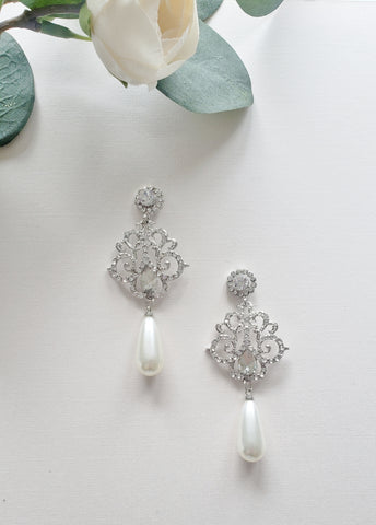 Large Drop Pearl Bridal Earrings