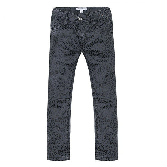 3 Pommes Girls Leopard Jeans - Black