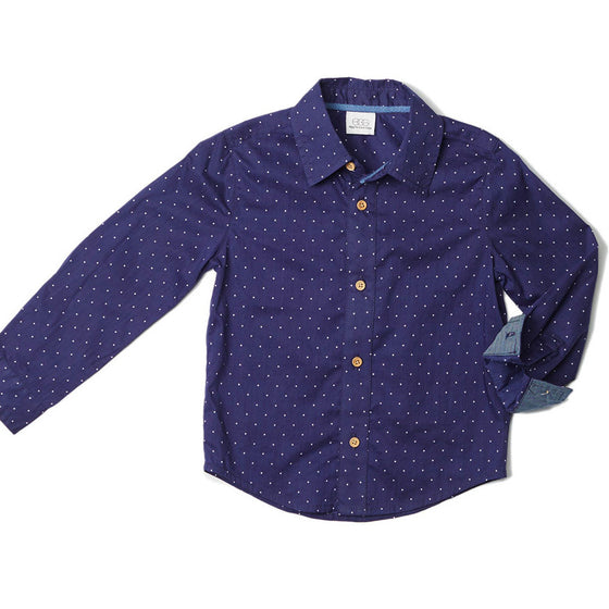 Egg by Susan Lazar  Button Down Shirt - Indigo Dots