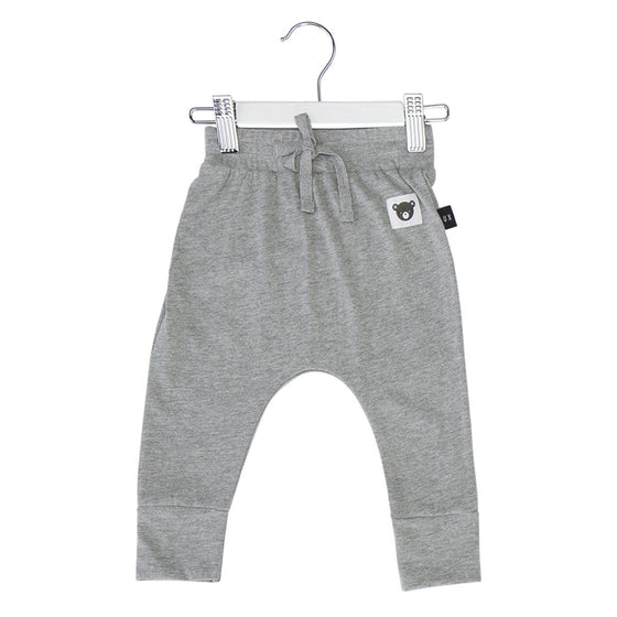 HuxBaby Bear Essentials Drop Crotch Pant - Grey
