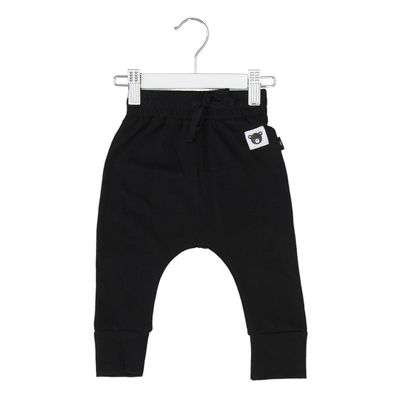 HuxBaby Bear Essentials Drop Crotch Pant - Black
