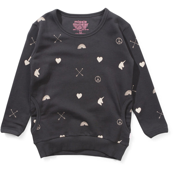 Munster Kids Girls Love Arrow SweatShirt - Soft Black