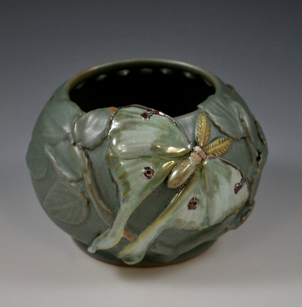 Luna Moth Flower Bowl #1