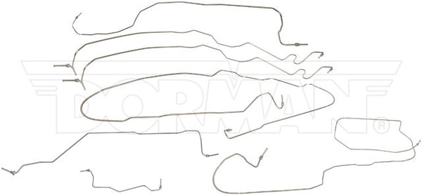 FL919139- 01-07 GM 2500HD Reg Cab 96'' Bed Complete Brake Line Kit; Stainless