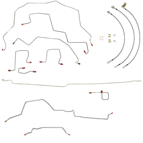 BLH88- 98-01 Ram 3500 4wd, Dually, Rear Drum, RWABS, Ext Cab/Long Bed; Complete Brake Line & Hose Kit; Stainless - SSTubes