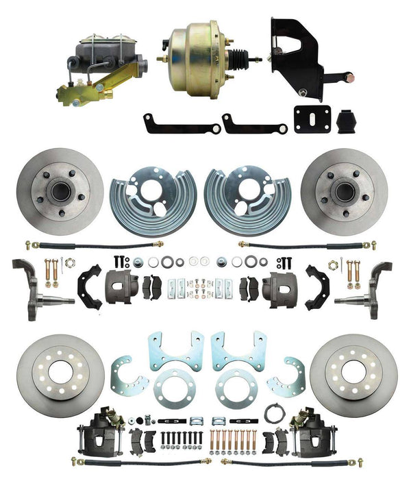 "DBK6272834-MP-207 - 62-72 Mopar B&E Body Front & Rear Disc Kit w/Standard Rotors, w/8"" Dual Zinc Booster Conversion Kit w/Left Mount Valve Kit"