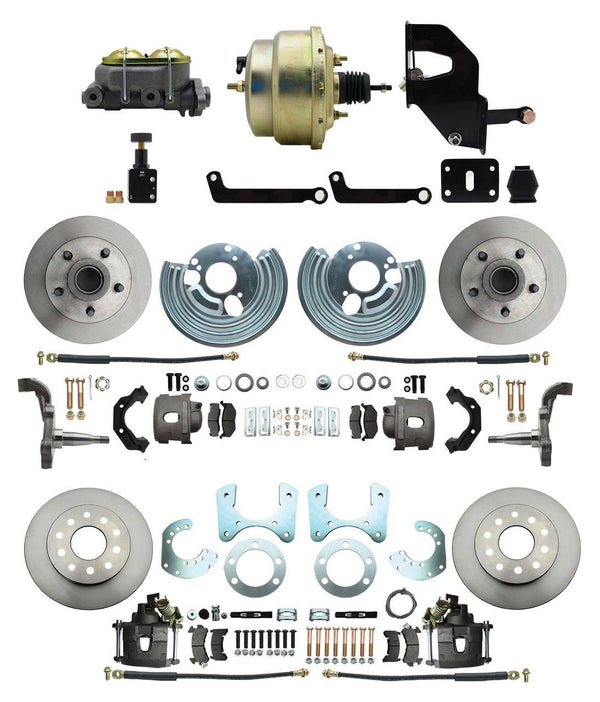 "DBK6272834-MP-208 - 62-72 Mopar B&E Body Front & Rear Disc Conversion Kit w/Standard Rotors, w/8"" Dual Zinc Booster Conversion Kit w/Adjustable Valve"