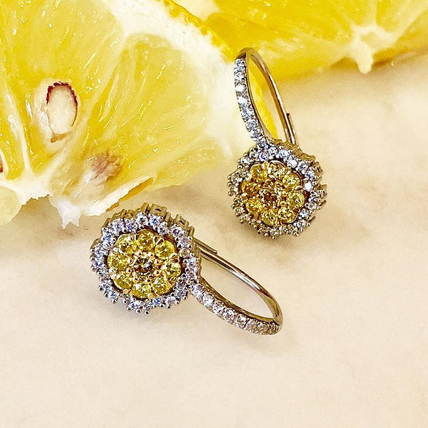 Platinum & 18K Yellow Gold Diamond Earrings.