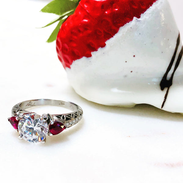 18K White Gold Ruby & Diamond Semi Mount Ring.