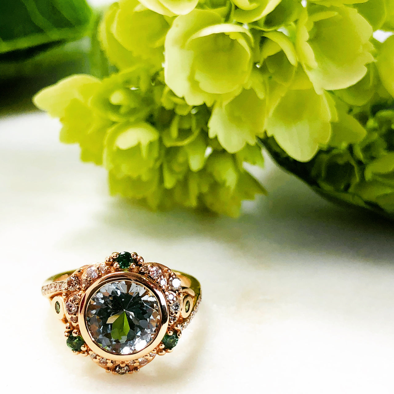 18KR Gold Aquamarine, Tsavorite & Diamond Ring.