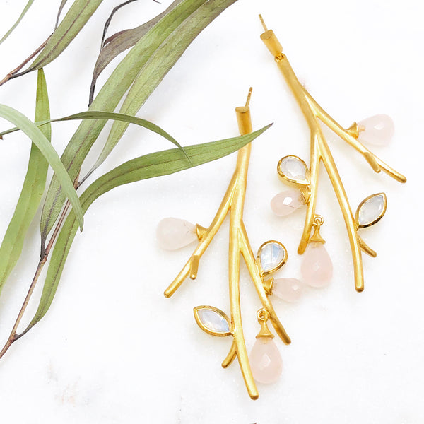 22k Gold Plated Moonstone and Quartz Earrings.