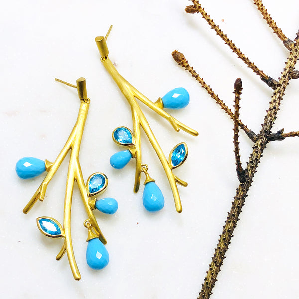 22k Gold Plated Blue Topaz and Turquoise Earrings