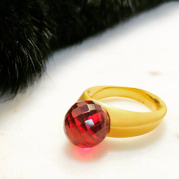 22K Plated Brass Quartz Ring.