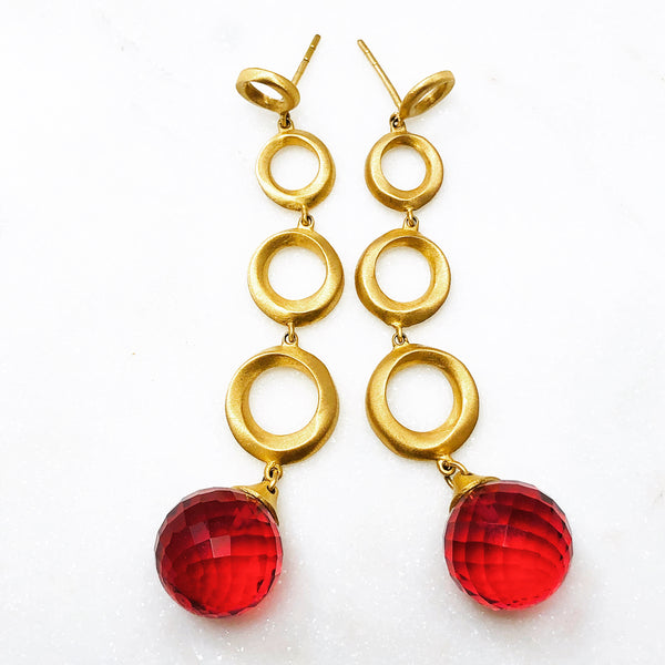 Gold Plated Quartz Earrings.