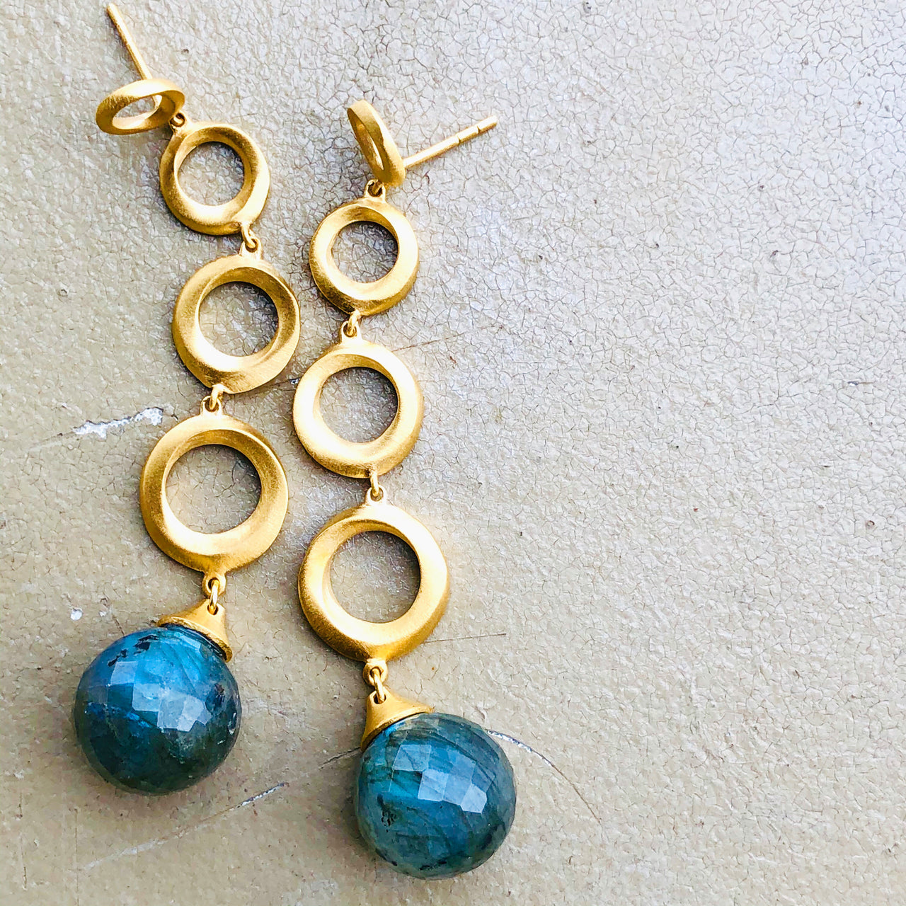 22k Gold Plated Brass Labradorite Earrings.