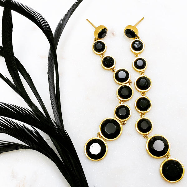 22k Gold Plated Black Onyx Earrings.