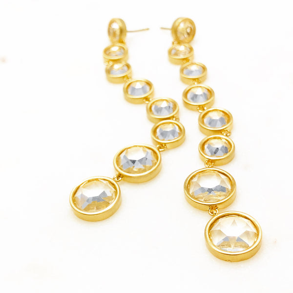 22k Gold Plated White Topaz Earrings.