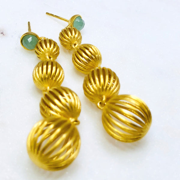 22k Gold Plated Chalcedony Earrings.