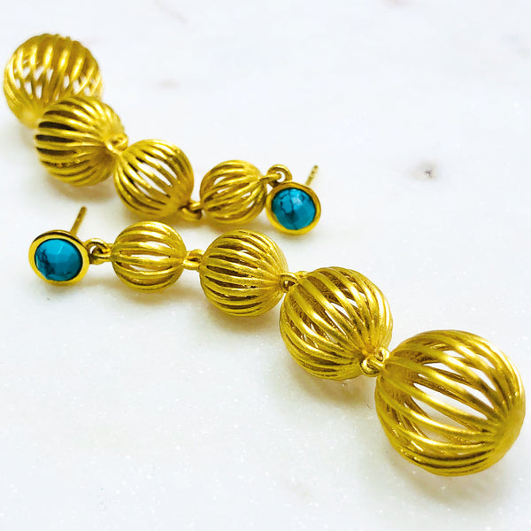 22k Gold Plated Turquoise Earrings.