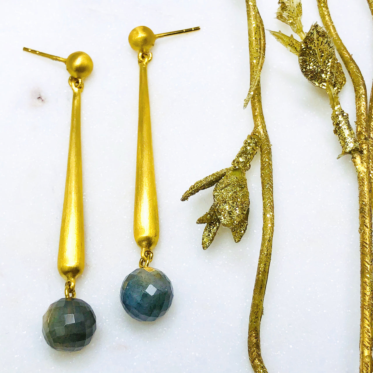 22k Gold Plated Labradorite Earrings.