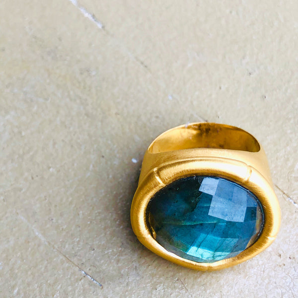 22K Gold Plated Brass Green Onyx Ring.
