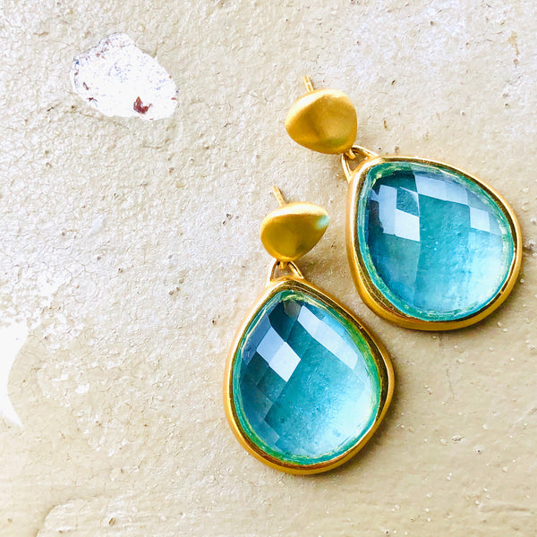 22k Gold Plated Quartz Earrings.