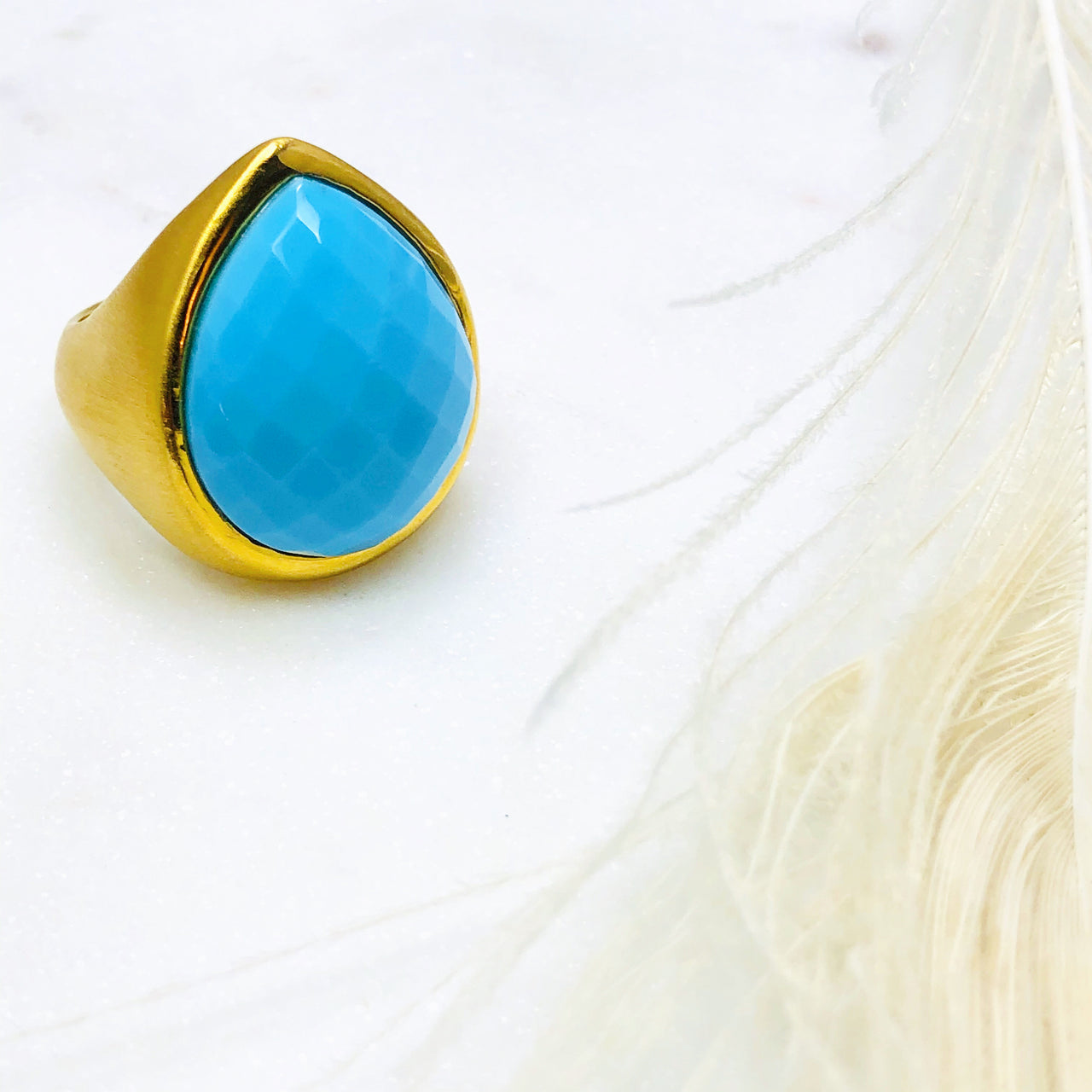 22k Gold Plated Turquoise Ring.