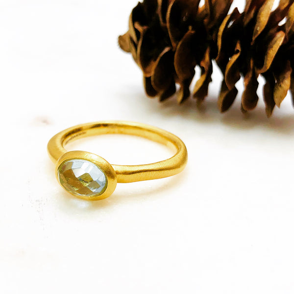 22k Gold Plated Blue Topaz Ring.