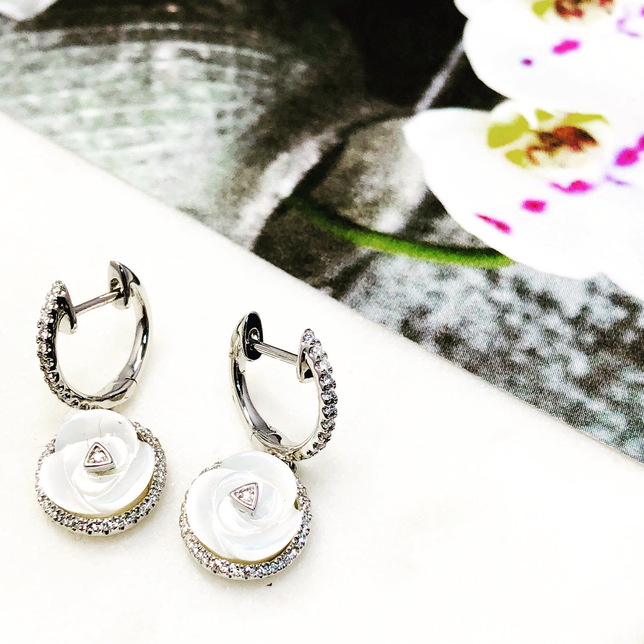14k White Gold Mother of Pearl and Diamond Earrings.