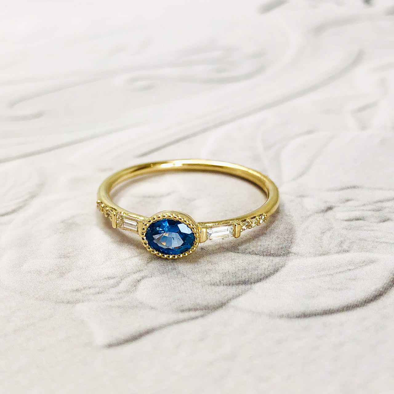 14K Yellow Gold Sapphire & Diamond Ring.