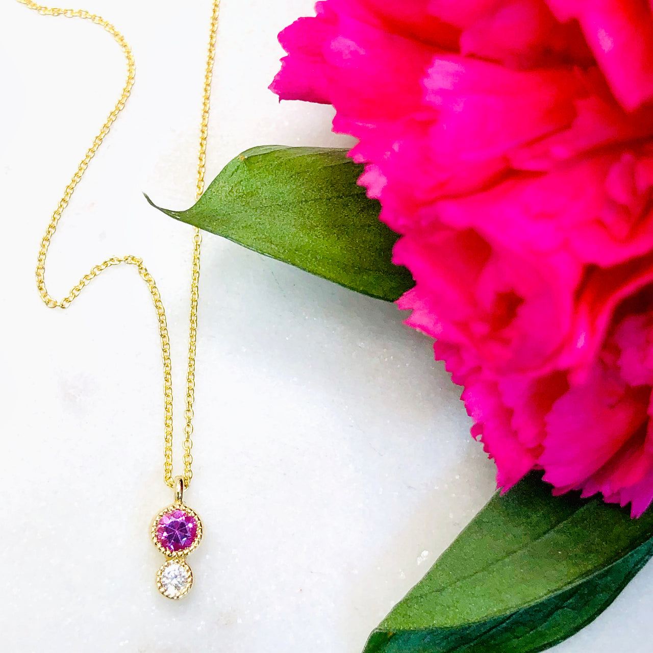 14K Yellow Gold Pink Sapphire and Diamond Necklace.