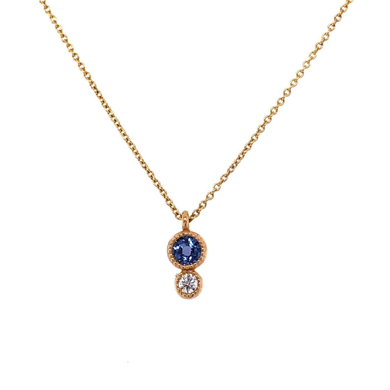 14K Yellow Gold Sapphire and Diamond Necklace.