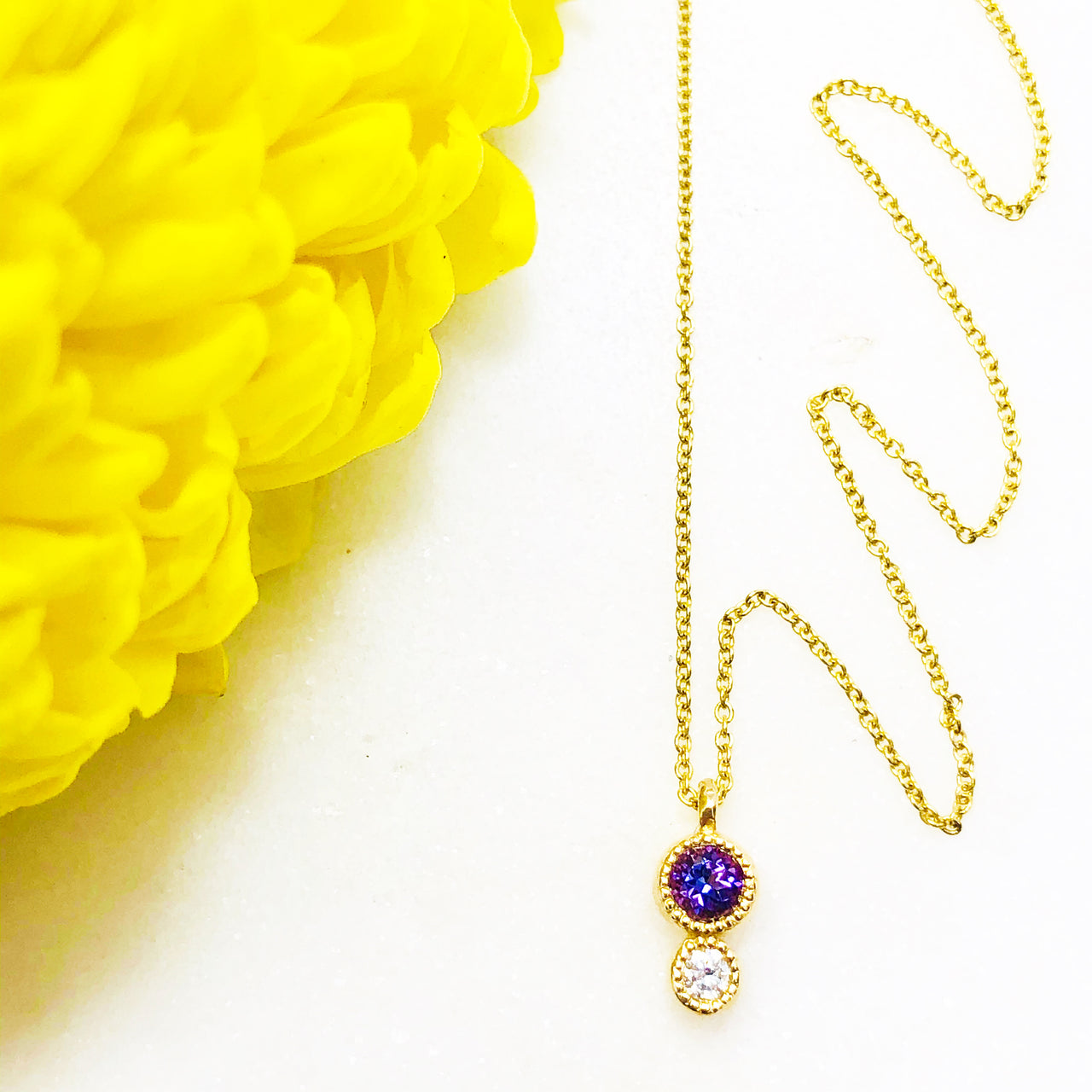 14K Yellow Gold Amethyst and Diamond Necklace.