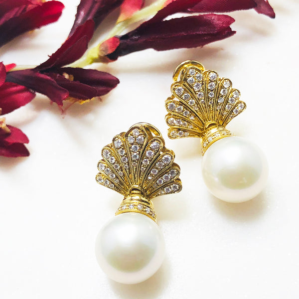 18K Yellow Gold Chinese Freshwater Pearl & Diamond Earrings.