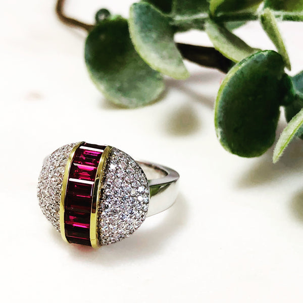 18K White Gold Ruby and Diamond Ring.
