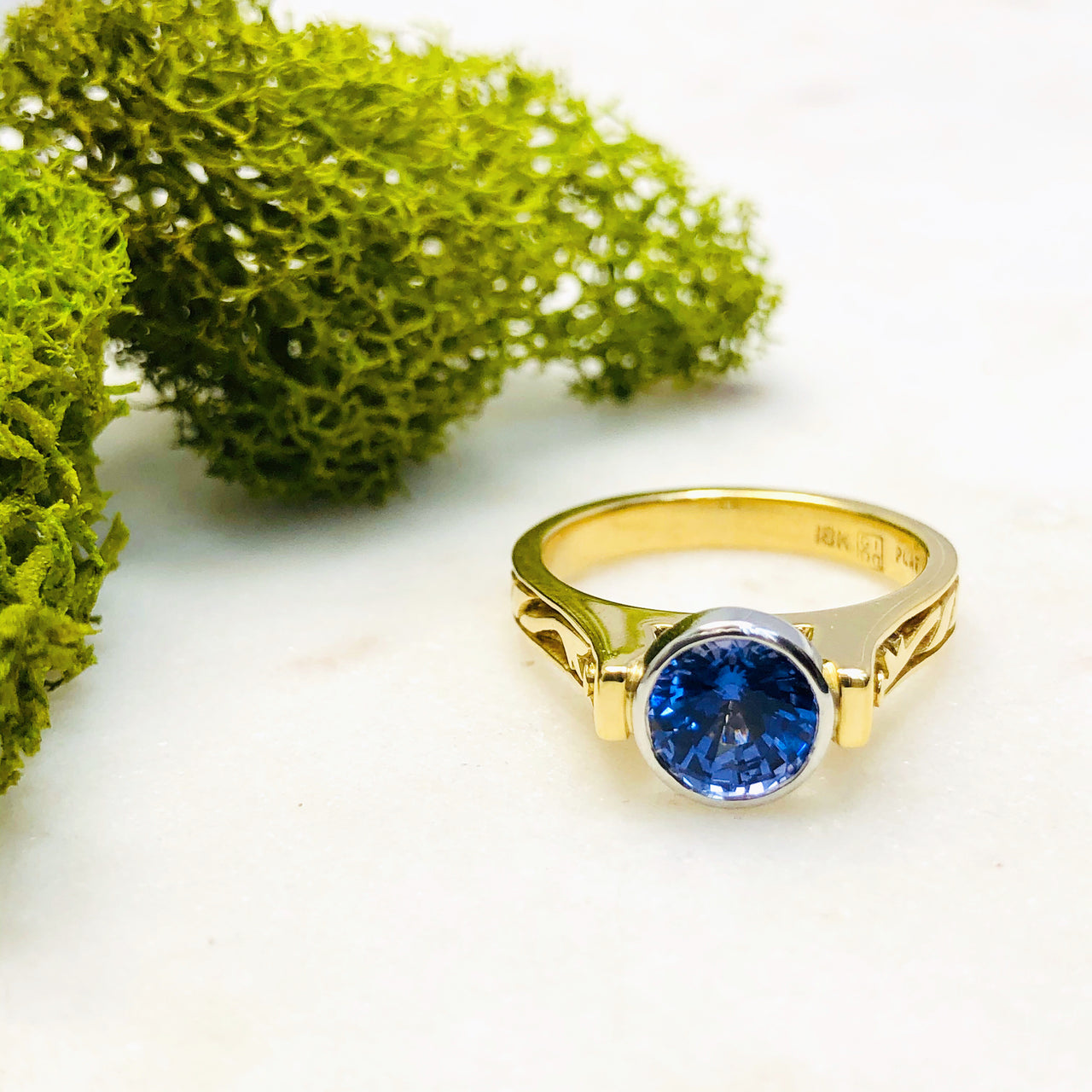 18k Yellow Gold and Platinum Chatham Sapphire Ring