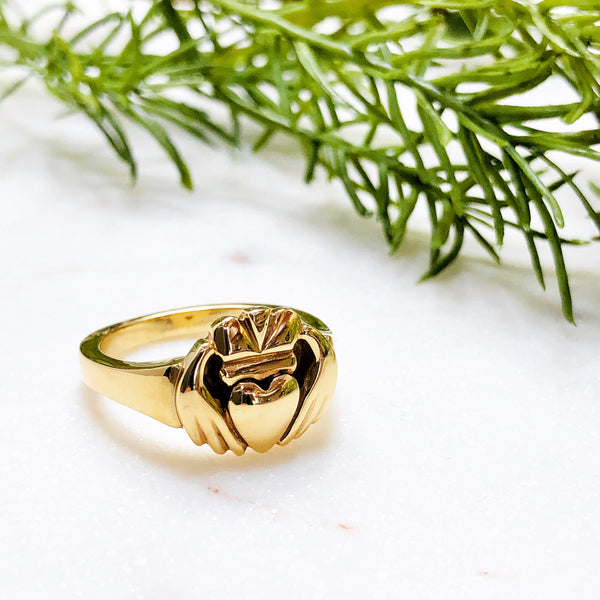 14K Yellow Gold Claddagh Ring.