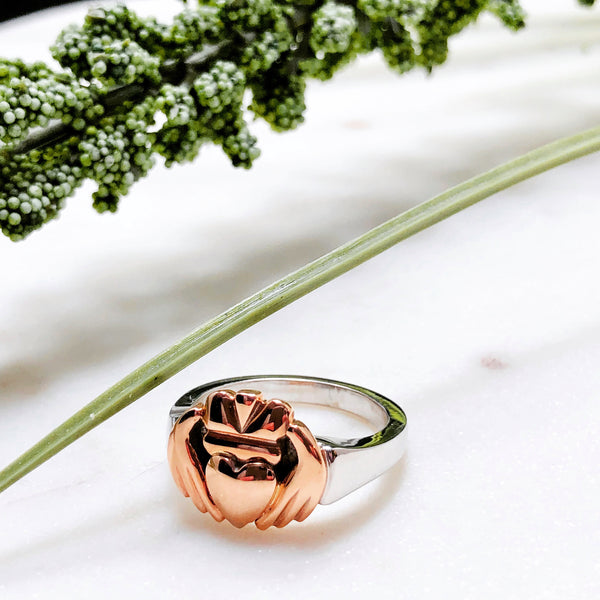 14K Rose & White Gold Claddagh Ring.