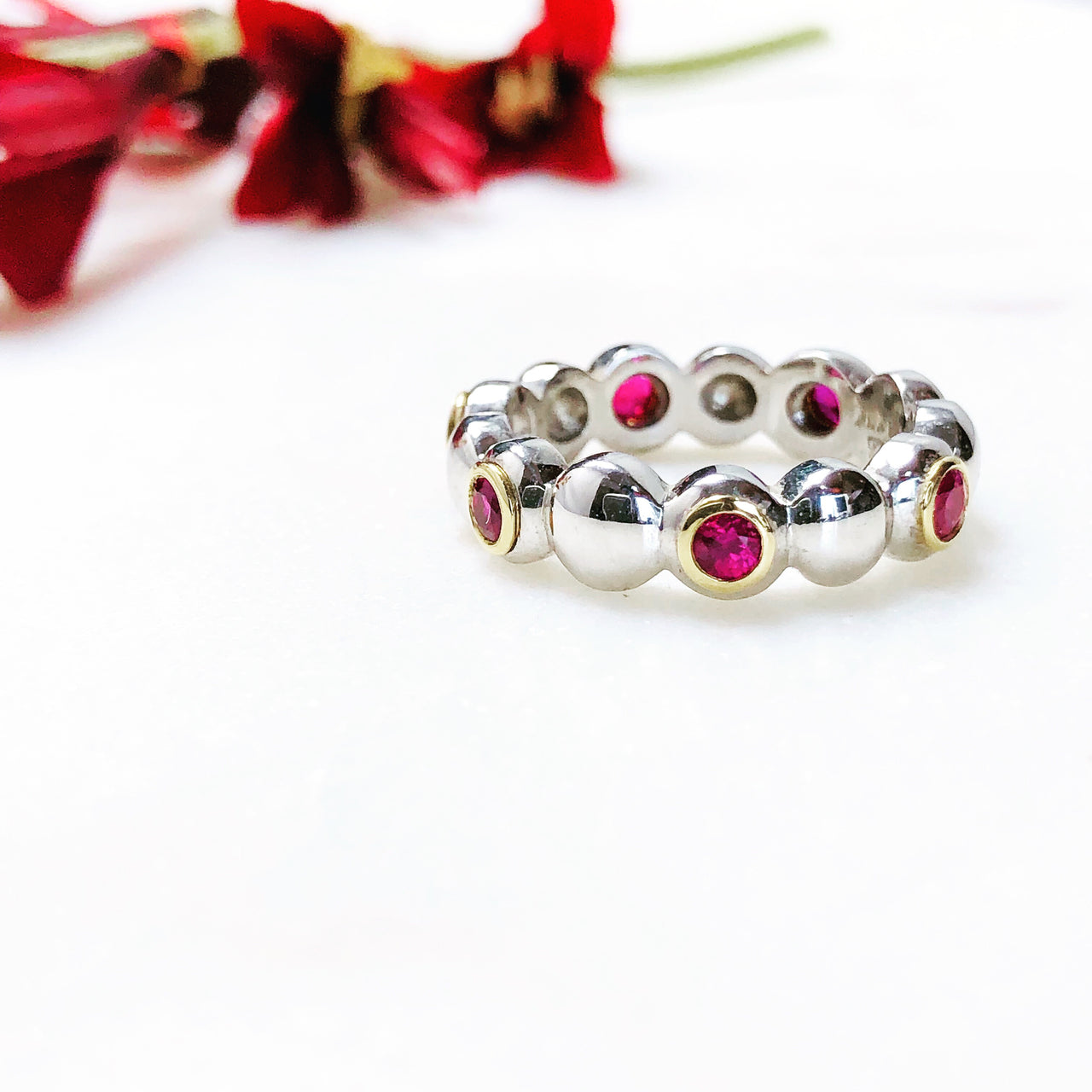 Platinum and 18K Yellow Gold Ruby Ring.