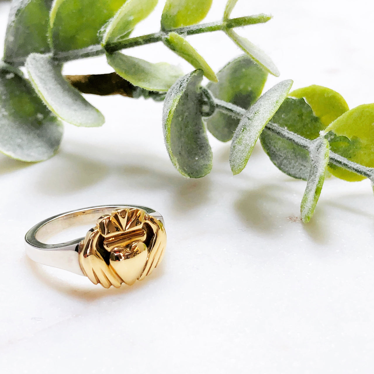 Sterling Silver & 14K Yellow Gold Claddagh Ring.