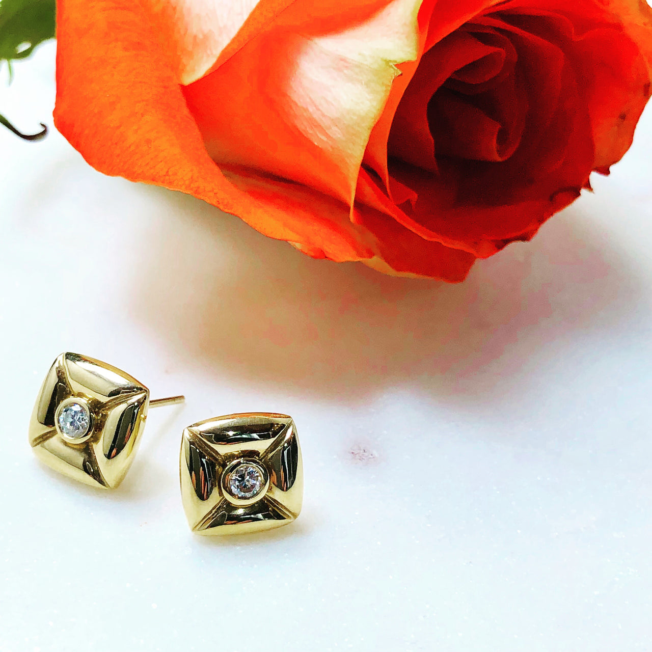 14K Yellow Gold Square Pillow Diamond Stud Earrings.