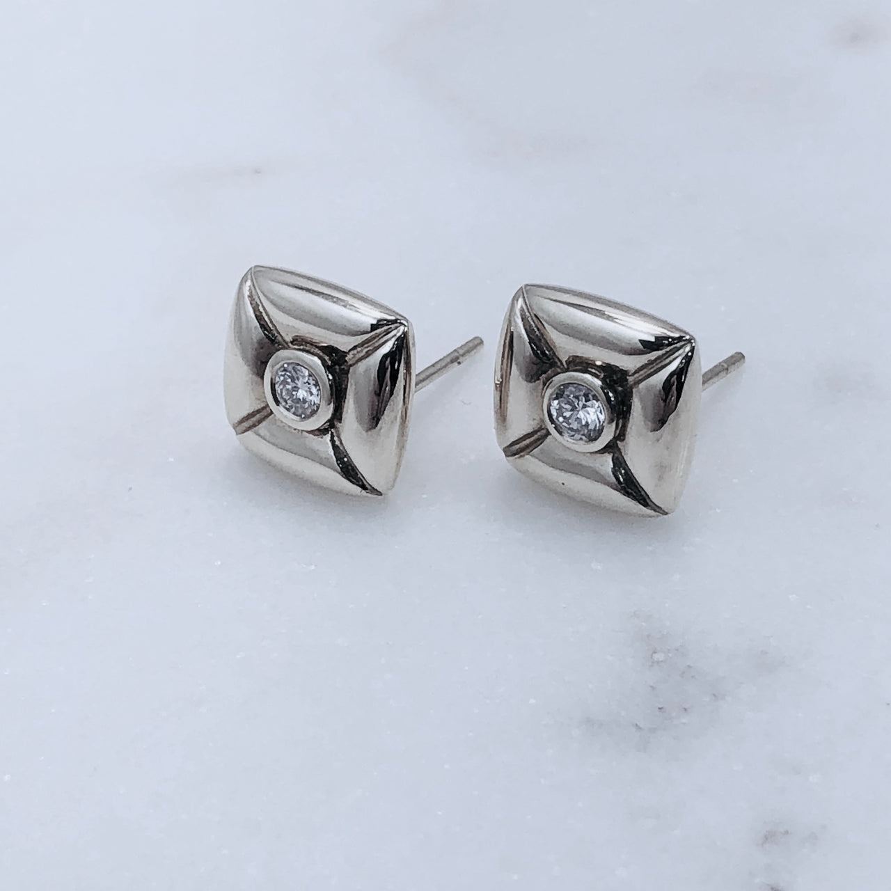 14K White Gold Pillow Diamond Earrings.