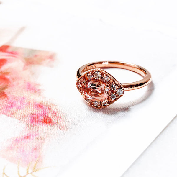 14K Rose Gold Morganite and Diamond Ring.