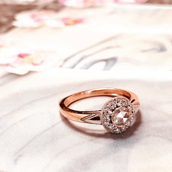 14K Rose and White Gold Diamond Ring.