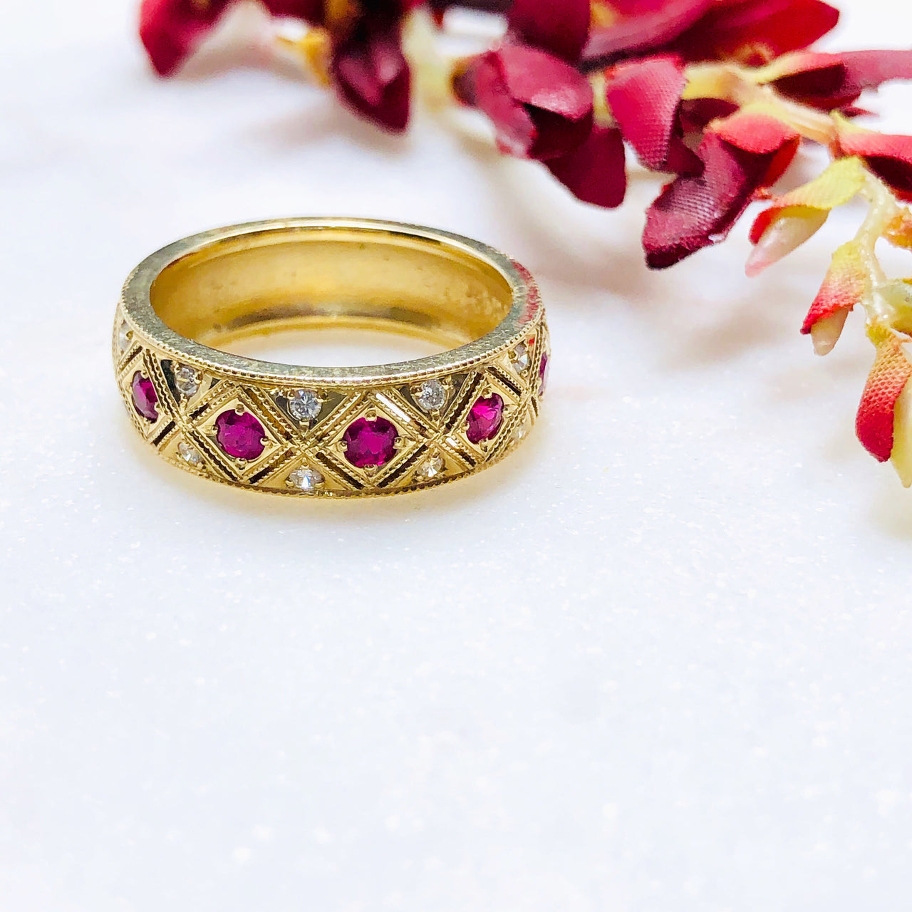 14K Yellow Gold Ruby and Diamond Band.