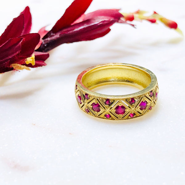 18K Yellow Gold Ruby Band.